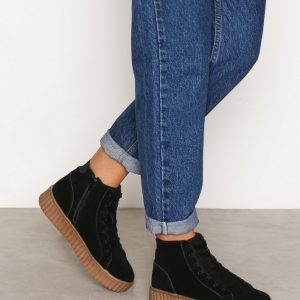 Bianco Laced Up Suede Boot Varsitennarit Black