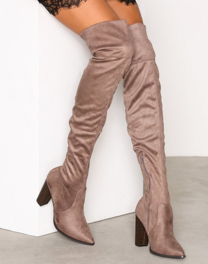 Bianco Overknee Stretch Boot Ylipolvensaappaat Nougat