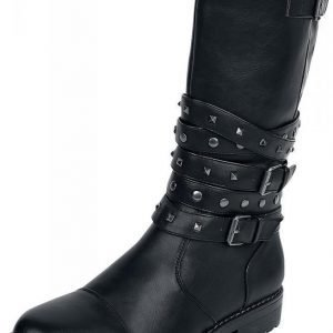 Black Premium by EMP High Studded Strap Boot Varsikengät