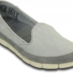 Crocs Loaferit Naisille Harmaa Stretch Sole Microsuede Skimmer