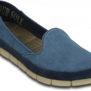 Crocs Loaferit Naisille Laivastonsininen Stretch Sole Microsuede Skimmer