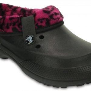 Crocs Sandaalit Black/Berry Classic Blitzen II Fuzz Lined Graphic