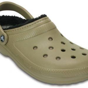 Crocs Sandaalit Khaki/Black Classic Fuzz Lined Pattern