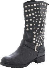 Fashion By C Long rivet boot Black