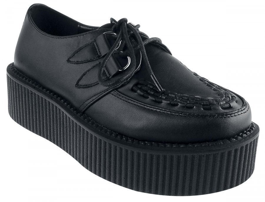 Industrial Punk Black Leather Creepers Creepers-kengät