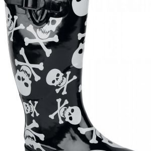 Industrial Punk Skull&Bones Rain Boots Kumisaappaat