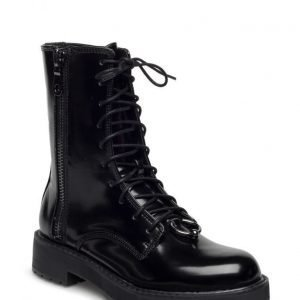 Mango Lace-Up Patent Effect Boots