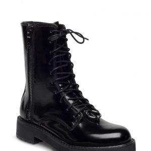 Mango Lace-Up Patent Effect Boots