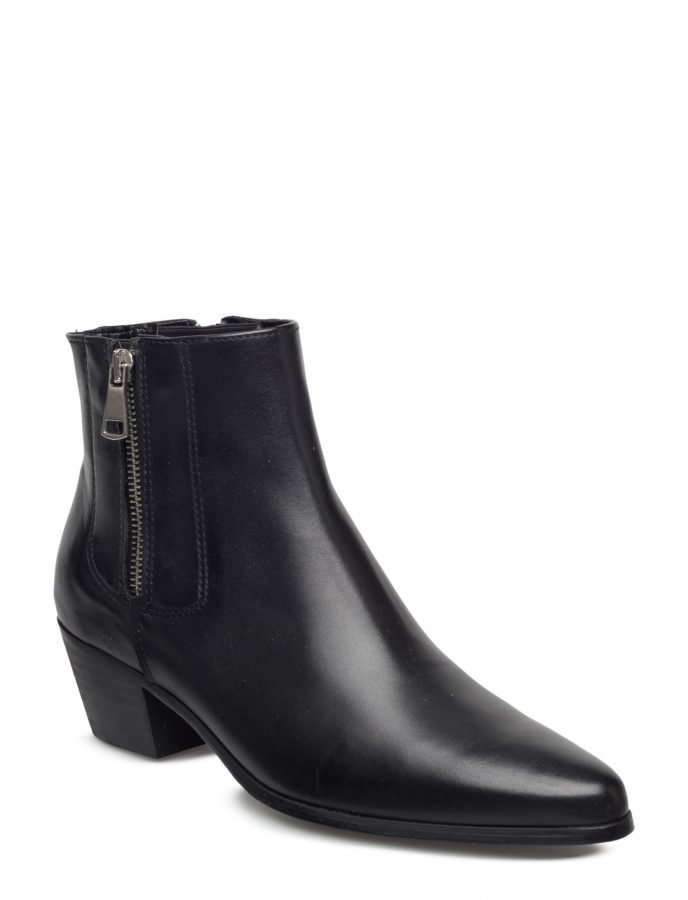 Mango Leather Western Ankle Boots