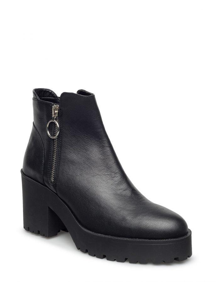Mango Platform Leather Ankle Boots