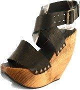 Minimarket Space Shoe Wood Wedge Sandal Black