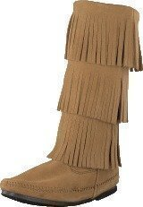 Minnetonka 3-Layer Fringe Boot Taupe Suede