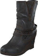 Mustang 1083508 Women's Wedge Boot Dark Grey