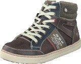 Mustang 5033504 Youth High Top Sneaker Dark Brown