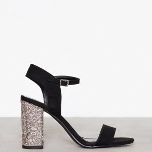 New Look Crystal Block Heel Sandal Sandaletit Gunmetal