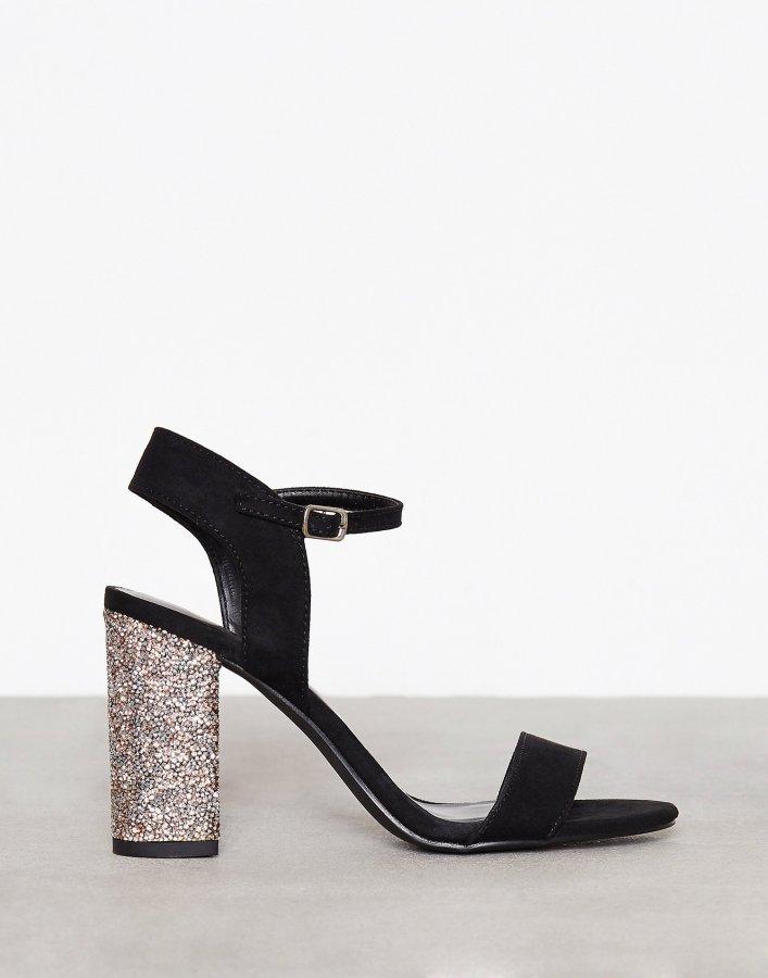 New Look Crystal Block Heel Sandal Sandaletit Gunmetal