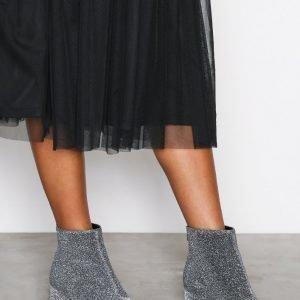 New Look Glitter Block Bootsit Heel Pewter
