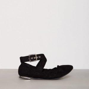 New Look Suedette Buckle Strap Pumps Ballerinat Black
