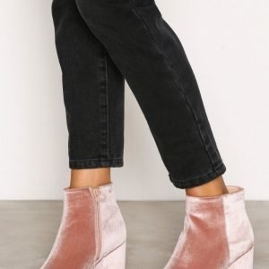 New Look Velvet Block Heel Boot Samettisaapikkaat Pink