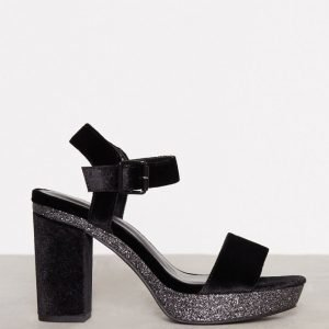 New Look Velvet Glitter Block Heel Samettisandaalit Black