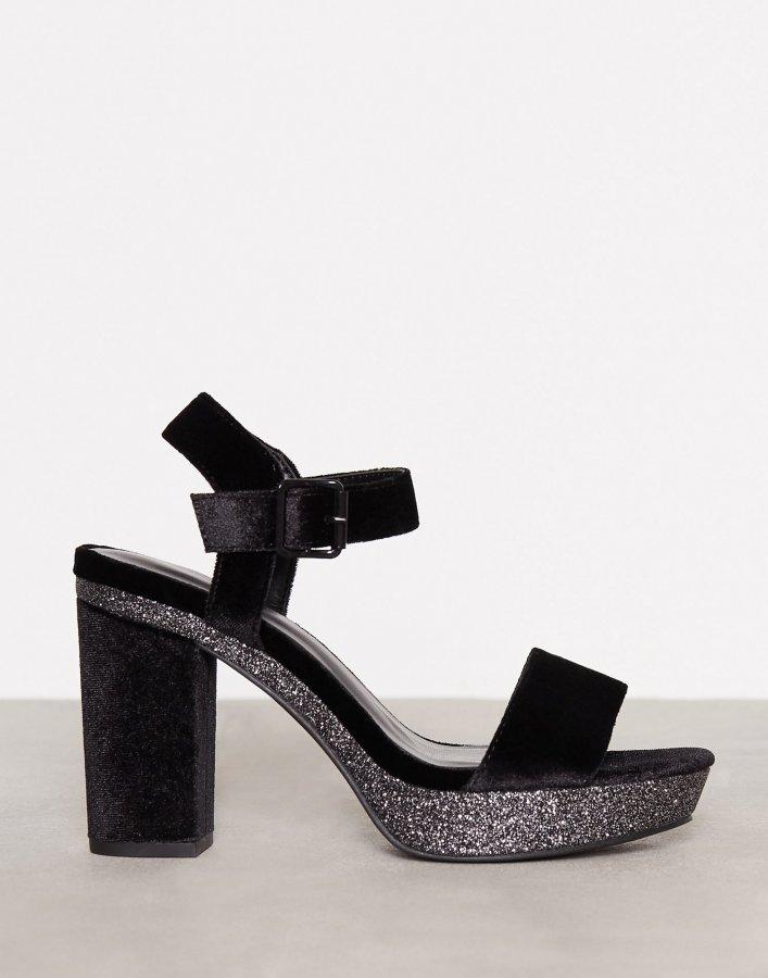 New Look Velvet Glitter Block Heel Samettisandaalit Black