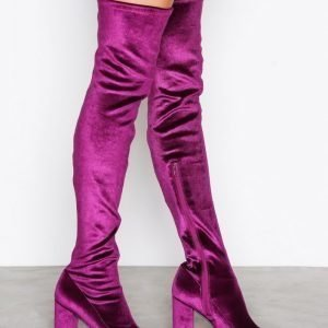 Nly Shoes Block Heel Thigh Boot Saappaat Berry