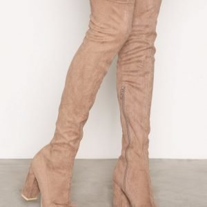 Nly Shoes Block Heel Thigh Boot Ylipolvensaappaat Beige