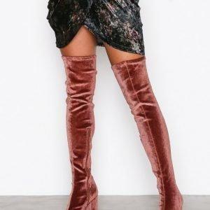 Nly Shoes Block Heel Thigh Boot Ylipolvensaappaat Mahogany