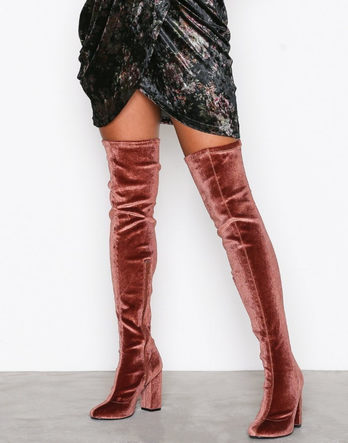 Nly Shoes Block Heel Thigh Boot Ylipolvensaappaat Mahogany