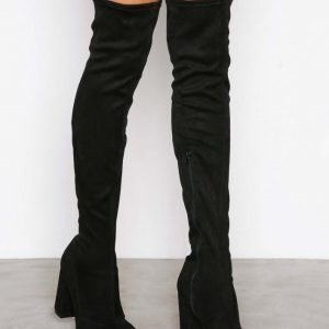 Nly Shoes Block Heel Thigh Boot Ylipolvensaappaat Musta