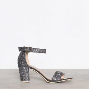 Nly Shoes Block Mid Heel Sandal Kimallesandaalit Harmaa / Sininen