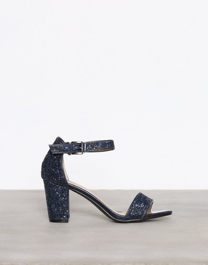 Nly Shoes Block Mid Heel Sandal Kimallesandaalit Sininen