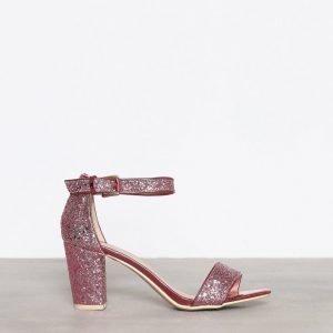 Nly Shoes Block Mid Heel Sandal Kimallesandaalit Vaaleanpunainen
