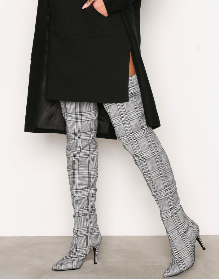 Nly Shoes Checked Thigh High Boot Ylipolvensaappaat Musta / Valkoinen