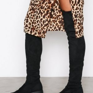 Nly Shoes Chunky Flat Thigh High Boot Bootsit Musta