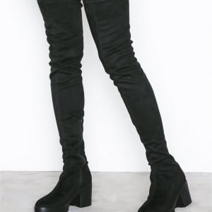 Nly Shoes Chunky Thigh High Boot Bootsit Musta