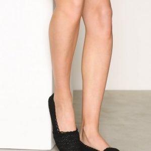 Nly Shoes Crochet Ballerina Ballerinat Musta