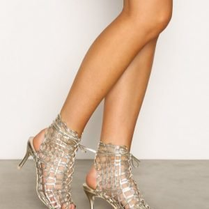 Nly Shoes Cut Out Bootie Sandaletit Metallic Gold