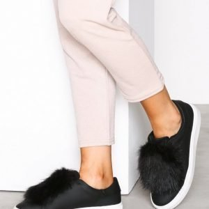 Nly Shoes Faux Fur Sneaker Tennarit Musta
