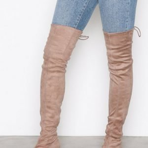 Nly Shoes Flat Thigh High Boot Ylipolvensaappaat Beige
