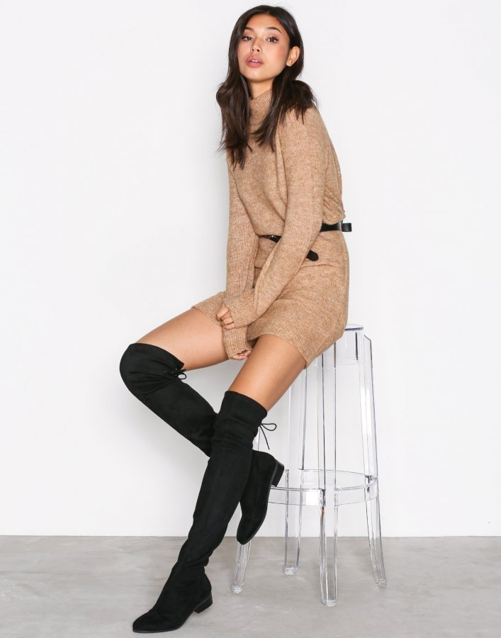 Nly Shoes Flat Thigh High Boot Ylipolvensaappaat Musta