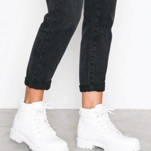 Nly Shoes Lace Boot Nahkakengät Valkoinen