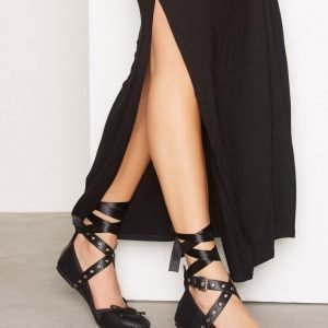 Nly Shoes Lace Up Ballerina Ballerinat Musta
