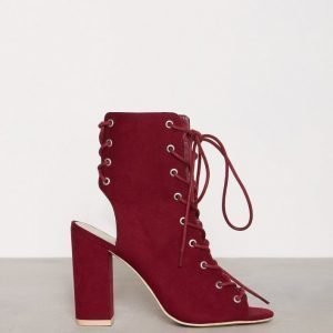 Nly Shoes Lace Up Block Sandal Nilkkurit Burgundy