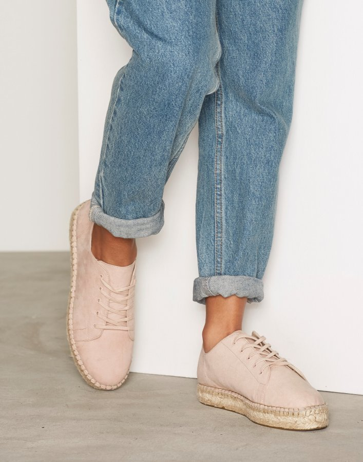 Nly Shoes Lace Up Espadrille Espadrillot Dusty Pink