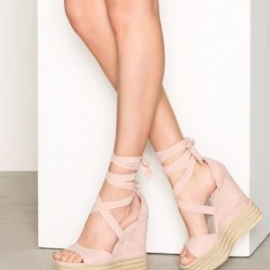 Nly Shoes Lace Wedge Sandal Sandaletit Dusty Pink