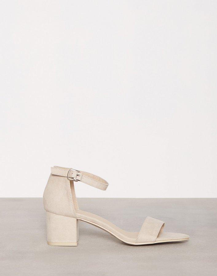 Nly Shoes Low Block Heel Sandal Mokkanahkasandaalit Beige