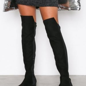 Nly Shoes Mixed Material Thigh Boot Bootsit Musta