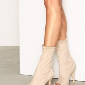 Nly Shoes Open Toe Stretchy Boot Saappaat Light Beige