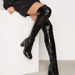 Nly Shoes Patent Thigh High Boot Ylipolvensaappaat Musta